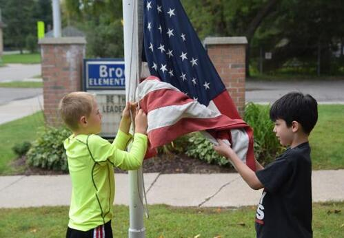 Flag raising at Brookside